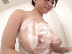 All soapy and ready to give a blowjob and swallow cum