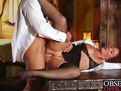 Hot redhead fucks her boss on the desk