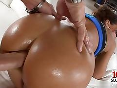 Sexy cowgirl anal pain