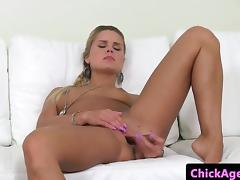 Casted lesbian masturbating after kissing