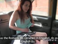 Dutch amateur flashing in British fake taxi tube porn video