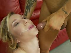 Insatiable blonde feels so slutty that she needs three dicks inside tube porn video