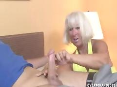 Mom and Boy, Blonde, Cumshot, European, Granny, Handjob