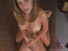 Curvy blonde with natural tits giving spicy blow job