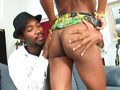 Angelic ebony in panties displaying her black butt before giving out blowjob