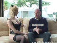 An older guy hires a maid who cleans his house and his cock