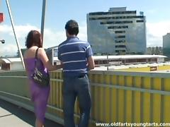 A crazy couple gets buck wild and fucks on a highway overpass tube porn video