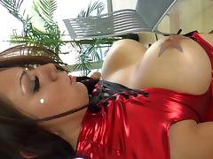 Lovely porn sweetheart gives huge cock a hot blowjob