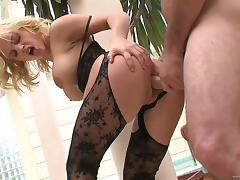 Sexy blonde in lingerie enjoys getting plowed by a thick cock
