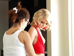 Dakota Skye poses in her red outfit and chats with cum on her face