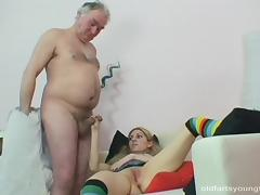 Old man loves drilling in her hot pussy