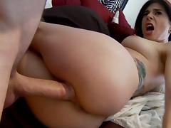 She greets her man in her underwear then gives him some pussy