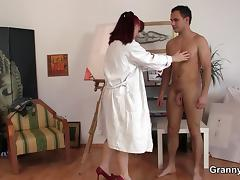 Horny granny games with young guy tube porn video