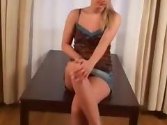 immature, Golden-Haired plays with a sex toy into her moist cookie.
