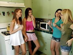 Horny sorority sisters get freaky on the bathroom floor porn tube video