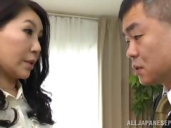 Mature Asian pornstar with big melons gets slammed till orgasm