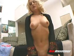 Wavy haired blonde shows off her big tits after a wild pussy toying session
