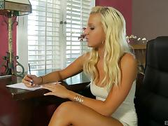 Writting a letter when she gets a nice surprsise from a black dude