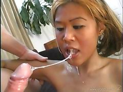 Asian babe takes cum in mouth after getting her anal drilled Hardcore