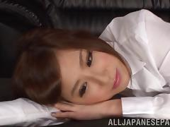 Japanese lesbians in blouses relax after work with hot sex