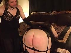 Dominant Crossdresser Spanks BBW Goddess