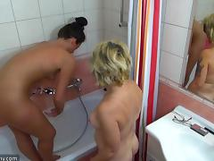 Mature lesbian sex dolls drilling their cunts with toys in the bathroom tube porn video