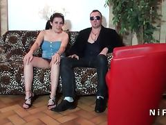 Chubby french housewife banged in front of her husband