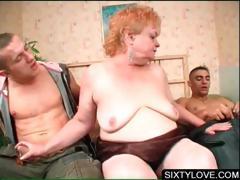 Mature babe sucking two large dicks tube porn video