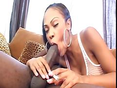 Ebony cock sucker blows a guy dry and takes a nice load