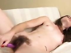 Hairy Chick Using Her Vibrating Toy