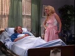 Cute blonde candystriper gives patient thorough deep suck