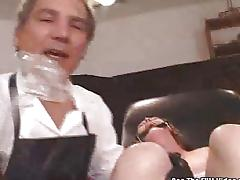 Anal fuck slut gagged and zapped on exam table