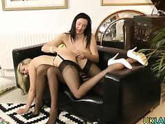 Mature lesbian toys pussy