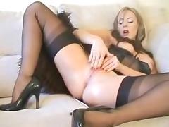 Horny milf loves stockings bvr