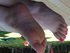 Teasing feet close up