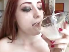 Violet Monroe drinks cum