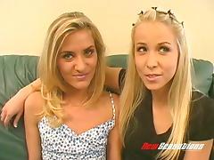 Blonde lesbian duo enjoy riding a sex machine till orgasm