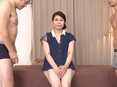 Two guys finger, massage and get blown by an Asian MILF