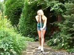 Mini-skirt clad lesbian with long blonde hair getting her wet pussy licked