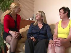 Three mature and chubby tongue twisters messing around