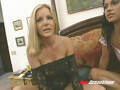 Pretty lesbian cougar with huge tits getting her pierced pussy fingered