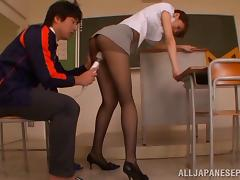 Kinky stocking-clad babe with a slim beautiful body enjoying a hardcore fuck
