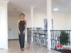 Elegant lady Renae Cruz sucks black cock in an evening gown