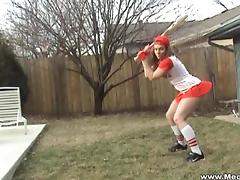 Megan QT models her slutty softball costume on a lovely day