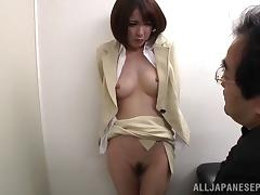 Short haired Japanese office girl gets fingered by her boss porn tube video