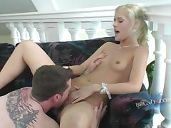 Sexy blonde sluttie bounced hard to a horny man's dick in hot orgasm