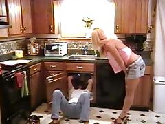 Fantastic retro action with nasty wife getting drilled in kitchen