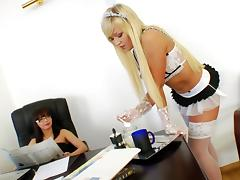 Porn stars in stockings get their assholes drilled hardcore in an office scene