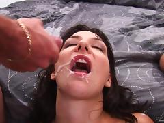 Brunette takes cum in mouth after being shoved hardcore in a MMF scene