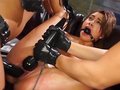 Hot lesbian BDSM along three sluts
